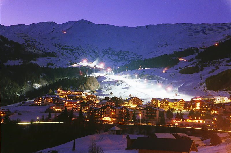 Night ski run